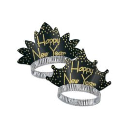 50 Units of Sparkling Gold Tiaras black & gold - Party Hats & Tiara