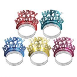 50 Units of Happy New Year Tiaras Asstd Colors - Party Hats & Tiara