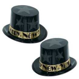 25 Units of New Year Star Topper black & gold; one size fits most - Party Accessory Sets