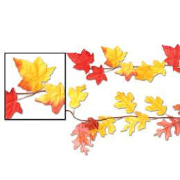 12 Units of Autumn Leaf Garlands Asstd Designs; Polyester - Hanging Decorations & Cut Out