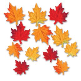 24 Units of Deluxe Fabric Autumn Leaves polyester - Hanging Decorations & Cut Out