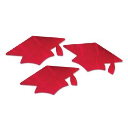 6 Units of Red Metallic Grad Cap Cutouts - Hanging Decorations & Cut Out