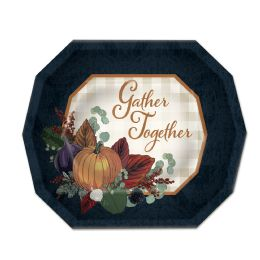 12 Units of Fall Thanksgiving Dessert Plates Not Microwave Safe - Party Paper Goods