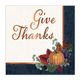 12 Units of Fall Thanksgiving Luncheon Napkins (2-Ply); Not Microwave Safe - Party Paper Goods