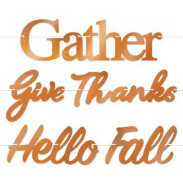 12 Units of Foil Fall Thanksgiving Streamer Set 5 pieces w/12' ribbon; makes 3 streamers; assembly required - Party Banners
