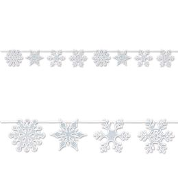 12 Units of Snowflake Streamer glitter print; assembly required - Party Banners