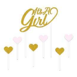 12 Units of It's A Girl Cake Topper Gold; 6-1.25  X 3.25  Pink & Gold Heart Picks Included - Party Supplies