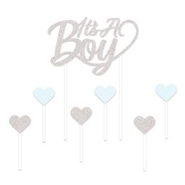 12 Units of It's A Boy Cake Topper Silver; 6-1.25  X 3.25  Lt Blue & Silver Heart Picks Included - Party Supplies