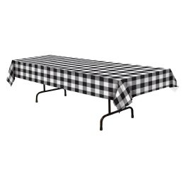 12 Units of Plaid Tablecover Black & White; Plastic - Party Supplies