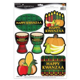 12 Units of Happy Kwanzaa Clings - Party Supplies