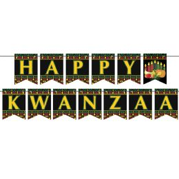 12 Units of Happy Kwanzaa Streamer assembly required - Party Banners