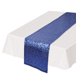 12 Units of Sequined Table Runner Blue - Party Supplies