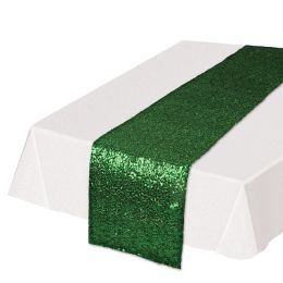 12 Units of Sequined Table Runner Green - Party Supplies