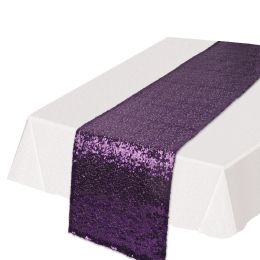 12 Units of Sequined Table Runner Purple - Party Supplies