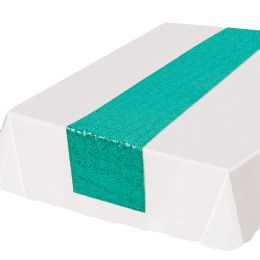 12 Units of Sequined Table Runner Turquoise - Party Supplies