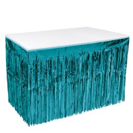6 Units of Pkgd 1-Ply Metallic Table Skirting Turquoise - Party Supplies