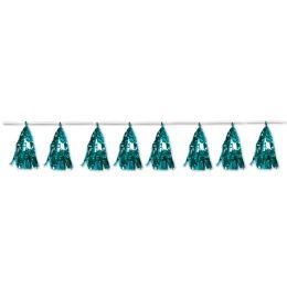 12 Units of Metallic Tassel Garland Turquoise; 12 Tassels/garland - Party Supplies