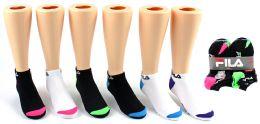 5 Units of Girl's FILA Brand Ankle Socks - 6-Pair Packs (Size 6-8) - Boys Ankle Sock