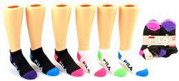 5 Units of Girl's FILA Brand No-Show Socks - 6-Pair Packs (Size 6-8) - Girls Ankle Sock