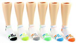 5 Units of Kid's FILA Brand No Show Socks - 6-Pair Packs (Size 6-8) - Girls Ankle Sock