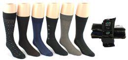 24 Units of Men's Classic Crew Dress Socks - Assorted Patterns - Size 10-13 - Mens Dress Sock