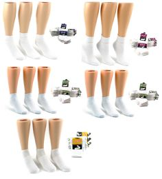 240 Units of Athletic Ankle Socks Family Combo - White - Sizes 1-3, 4-6, 6-8, 9-11, & 10-13 - Mens Ankle Sock