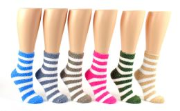 24 Units of Women's Fuzzy Ankle Socks with Stripes - Size 9-11 - Womens Fuzzy Socks