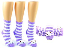 24 Units of Women's Fuzzy Ankle Socks with 3-D Cat - Size 9-11 - Womens Fuzzy Socks