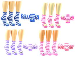 72 Units of Women's Fuzzy Crew Socks w/ Plush Adornment - Size 9-11 - Womens Fuzzy Socks