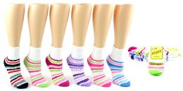 72 Units of Women's Fuzzy Ankle Socks - Striped Print - Size 9-11 - Womens Fuzzy Socks