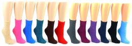 60 Units of Women's Premium Fuzzy Crew Socks - Solid Colors - Size 9-11 - Womens Fuzzy Socks