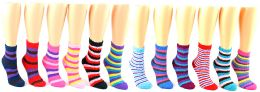 24 Units of Women's Premium Fuzzy Crew Socks - Striped Print - Size 9-11 - Womens Fuzzy Socks
