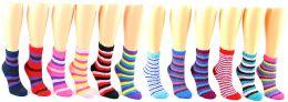 24 Units of Women's Fuzzy Crew Socks - Striped Print - Size 9-11 - Womens Fuzzy Socks