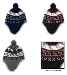 24 Units of Men's Fleece Lined Earflap Hats - Peruvian Prints - Winter Hats