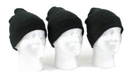 60 Units of Adult Cuffed Knit Hats - Black Only - Winter Hats