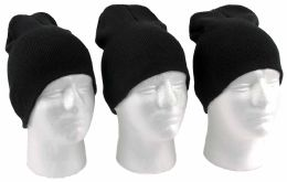 60 Units of Adult Beanie Knit Hats - Black - Winter Beanie Hats