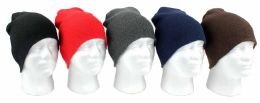 60 Units of Adult Beanie Knit Hats - Assorted Colors - Winter Beanie Hats