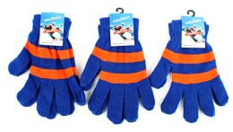 60 Units of Adult Magic Gloves-Blue and Orange - Knitted Stretch Gloves