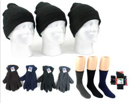 180 Units of Adult Cuffed Knit Hats, Men's Fleece Gloves, & Men's Wool Blend Socks Combo - Winter Sets Scarves , Hats & Gloves