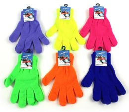 60 Units of Adult Magic Stretch Gloves - Neon Colors - Knitted Stretch Gloves