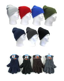 120 Units of Men's Knit Hats And AdjustablE-Strap Fleece Lined Gloves - Winter Sets Scarves , Hats & Gloves
