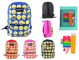 "24 Units of 17"" Classic Emoji PureSport Backpack & Elementary School Supply Kit Sets - School Supply Kits"