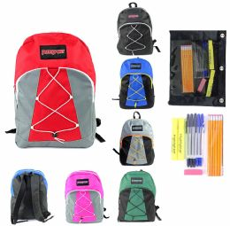 "24 Units of 17"" Classic Bungee Puresport Backpack & High School Supply Kit Sets - School Supply Kits"