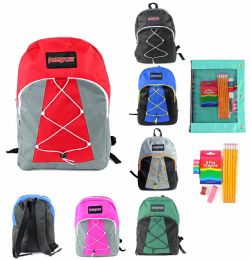 "24 Units of 17"" Classic Bungee Puresport Backpack & Elementary School Supply Kit Sets - School Supply Kits"