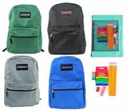 """24 Units of 15"""" Classic PureSport Backpack & Elementary School Supply Kit Sets - School Supply Kits"""
