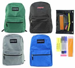 """24 Units of 15"""" Classic PureSport Backpack & High School Supply Kit Sets - School Supply Kits"""