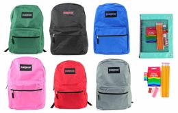 """24 Units of 17"""" Classic PureSport Backpack & Elementary School Supply Kit Sets - School Supply Kits"""