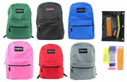 "24 Units of 17"" Classic Puresport Backpack & High School Supply Kit Sets - School Supply Kits"