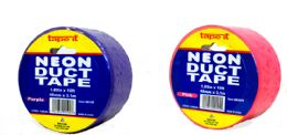 """48 Units of Decorative Duct Tape - Neon Purple And Neon PinK- 1.89"""" X 10' - Closeout - Tape"""