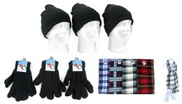 180 Units of Adult Beanie Knit Hats, Magic Gloves, And Checkered Scarves Combo Packs - Winter Sets Scarves , Hats & Gloves